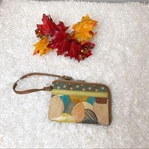 Fossil Key-Per Wristlet Purse Brown Multicolor